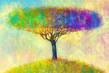 Illustration Painting Landscape. Colorful Autumn Tree. Abstract Style.