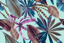 Seamless Tropical Leaves Pattern
