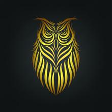 Owl Tattoo, Owl Line Art On Black Background