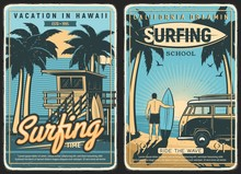 Surfing Retro Poster, Surf Bea...