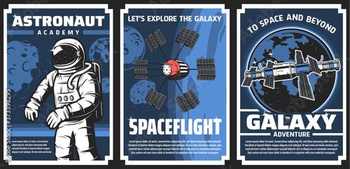 Fotografia, Obraz Space explore, astronaut academy retro vector posters
