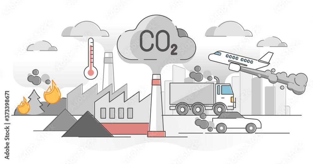 Fototapeta CO2 carbon dioxide emissions global air climate pollution outline concept