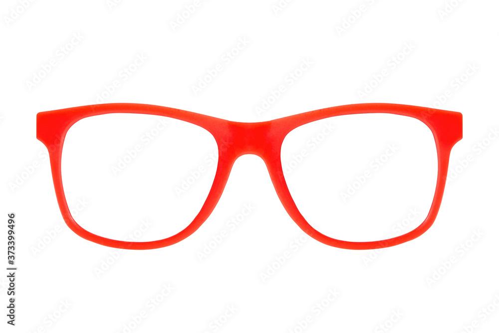 Fototapeta Red plastic frame eyeglasses isolated on white background