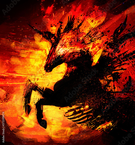 Undead fiery unicorn with short black wings, pierced with arrows and spears. He stands on its hind legs in profile, burning from the inside. 2D illustration.