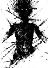 Silhouette Of An Exhausted Woman Chained In Chains And Thorns, Beggingly Looking Up Into The Heavens. 2D Illustration.
