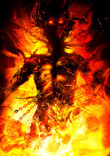 The Silhouette Of An Exhausted Woman Chained In Chains And Thorns, Beggingly Looking Up Into The Heavens, Her Body Burned With A Bright Fire In Hell. 2D Illustration.