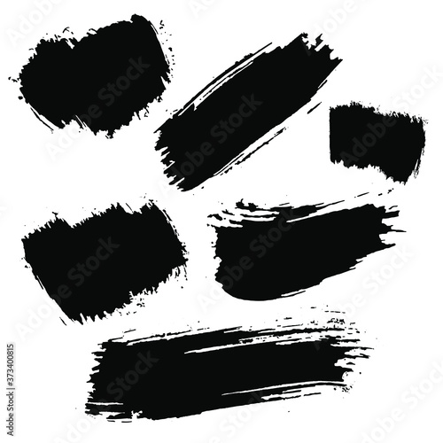Fotografie, Obraz Black Paint Strokes using a thick brush