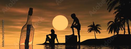 Silueta de náufragos en un banner con una isla desierta y amanecer de fondo vien Billede på lærred