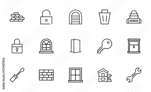 Cuadros en Lienzo Set of home related vector line icons.