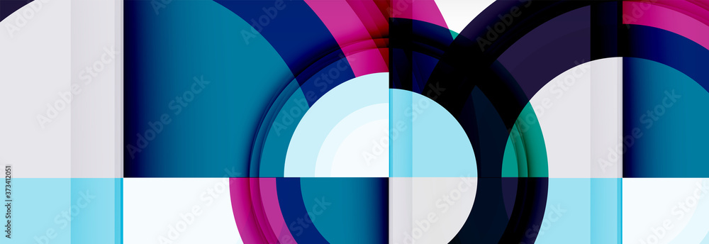 Round shapes, triangles and circles. Modern abstract background