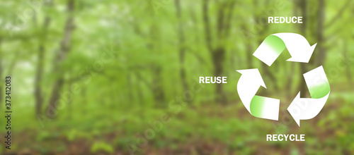 Fotografía Reduce. Reuse. Recycle. Ecology. Renew concept