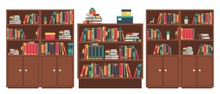 Library Book Shelves Room. Book Stacks In Wooden Furniture. Books In Bookshelf Stand And Lie, Colorful Covers, Wood Cabinet For Studying And Learning, Classic Interior Vector Illustration