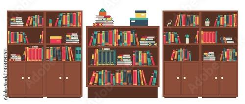 Fotografie, Obraz Library book shelves room