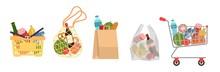 Shopping Bags With Foods. Groc...