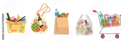 Fotografija Shopping bags with foods