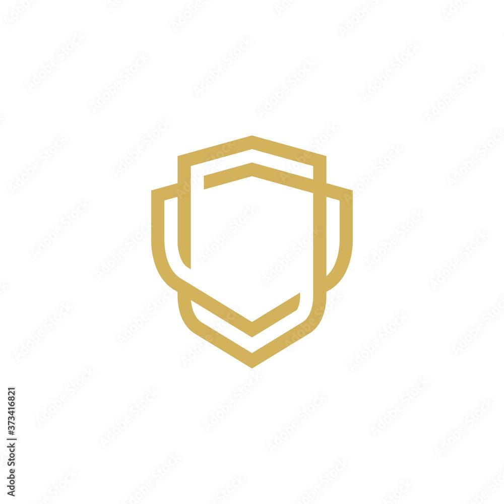 Fotografie, Obraz Modern Shield logo line art design template