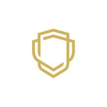 Modern Shield Logo Line Art Design Template