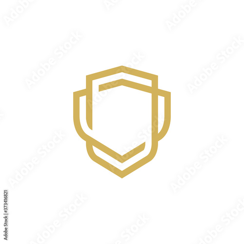 Fototapeta Modern Shield logo line art design template