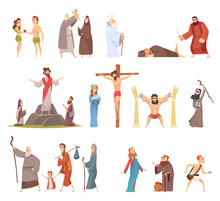 Bible Characters. Historical Antique Holy People Vector Illustrations Collection. Bible Religion History, Man Christianity And Faith