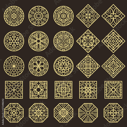 Obraz Traditional korean ornament. Asian decoration geometrical authentic shapes for tattoo patterns vector designs. Illustration traditional korean and chinese decoration - fototapety do salonu
