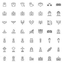 Happy Halloween Line Icons Set...