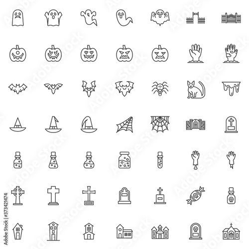 Obraz na plátně Happy Halloween line icons set