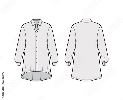 Fotografija Oversized shirt dress technical fashion illustration with long sleeves, regular collar, high-low hem, front button-fastening