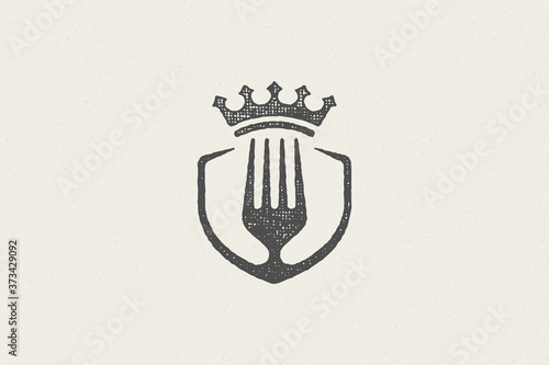 Fototapeta Fork silhouette and crown for premium food concept hand drawn stamp effect vector illustration