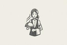 Professional Waitress Holding ...