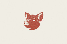 Pig Head Silhouette For Meat Industry Hand Drawn Stamp Effect Vector Illustration.