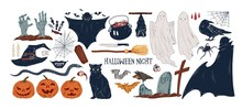 Collection Of Vintage Halloween Creepy Stickers. Set Of Traditional Helloween Symbols And Horror Vintage Attributes For All Saints Day. Flat Vector Cartoon Illustration Isolated On White Background