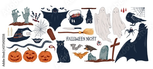 Photo Collection of vintage Halloween creepy stickers