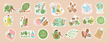 Collection Of Ecology, Vegan Stickers With Slogans: Zero Waste, Recycle, Eco Friendly, No Plastic. Bundle Of Decorative Design Elements. Isolated Plots Flat Vector Illustration.