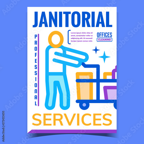 Janitorial Services Advertising Poster Vector Slika na platnu