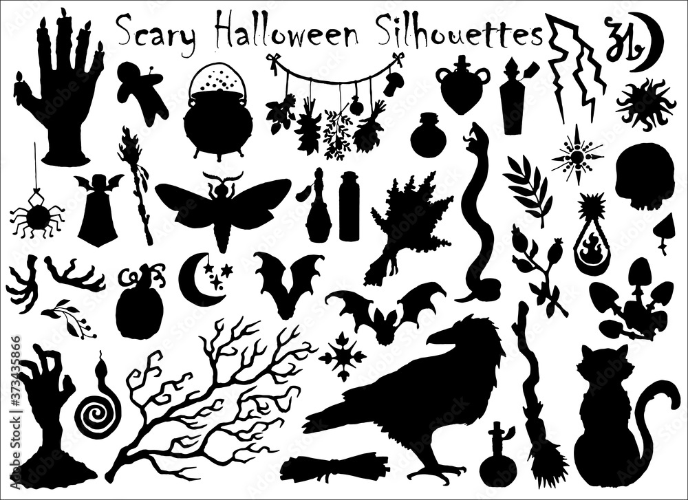 Fototapeta Halloween set with traditional scary silhouettes of crow, pumpkin, cat and others.