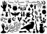 Fototapeta Cats - Halloween set with traditional scary silhouettes of crow, pumpkin, cat and others.