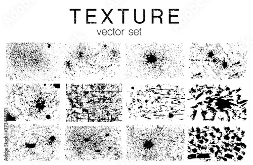 Set of vector grunge textures in black and white Poster Mural XXL