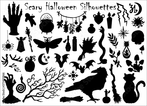 Halloween set with traditional scary silhouettes of crow, pumpkin, cat and others.
