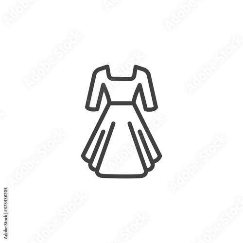 Canvastavla Elegant woman dress line icon