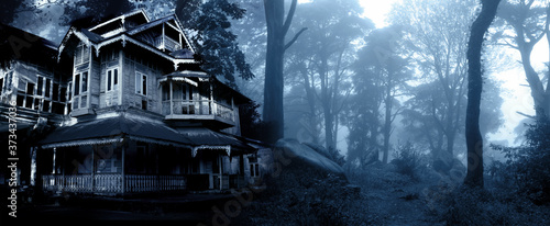 Fotografering Haunted house. Old abandoned house in the night forest