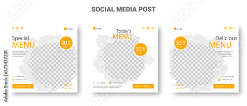 Fotomural Food menu banner yellow square social media post set