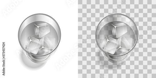 Fotomural A glass with a drink and ice on a transparent background