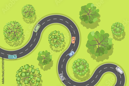 Vector illustration. Road with cars. Top view. Canvas