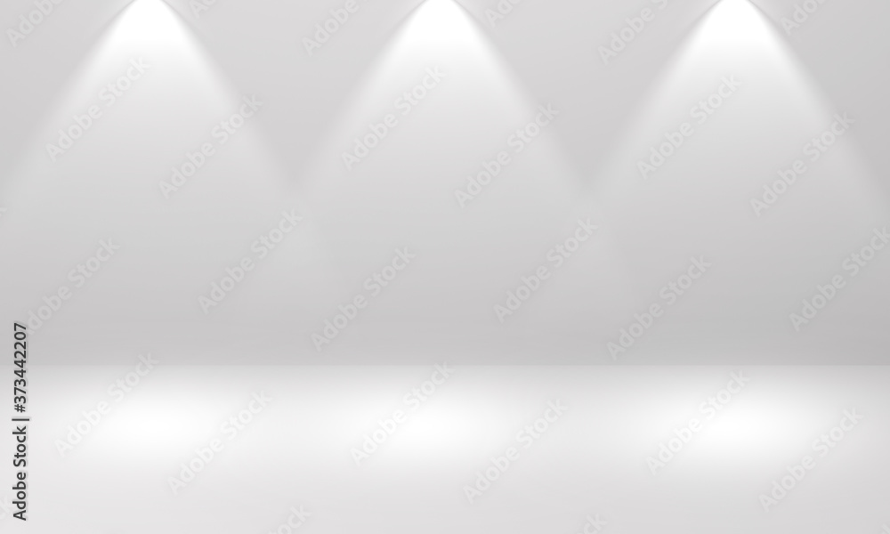 Fototapeta Dust color stage background with three spotlight