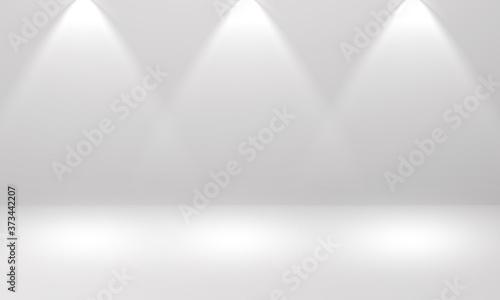 Obraz Dust color stage background with three spotlight - fototapety do salonu