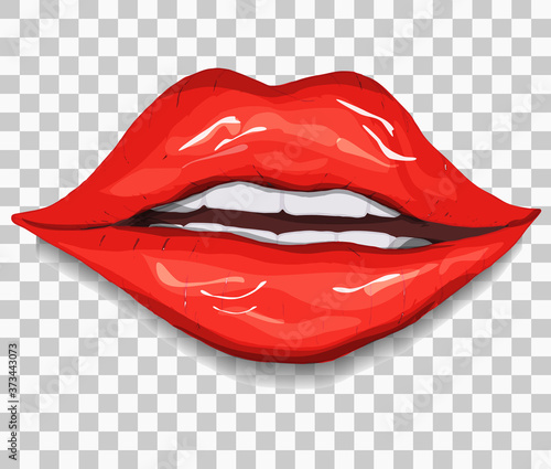 Photo realistic, red lips isolated on a transparent background