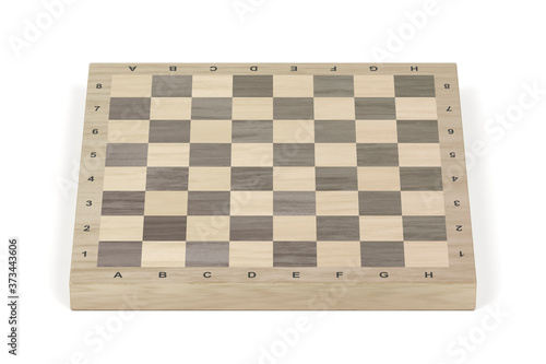 Canvas Wooden chess board on white background, front view