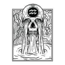 Tattoo And T-shirt Design Black And White Hand Drawn  Aquarius Skull Zodiac Premium Vector
