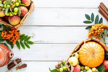 Autumn Background. Apples, Pum...