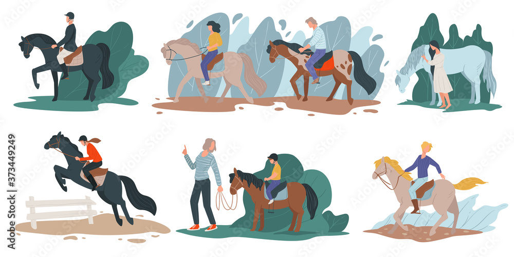Fototapeta Horse riding and jockey hobby, people with stallions